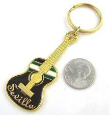 Sevilla Spain Guitar Souvenir Keychain OLE Dancers Key Ring Ukulele Gold Enamel