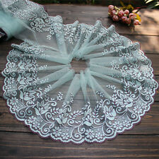 "7.677""*1Y  Ironed Crystal Stones Embroidered Tulle Lace Trim  ~Mint Green~ Craft"