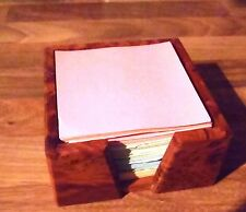 RARE THUYA WOOD PAPER CUBE NOTE HOLDER * DESK TOP ACCESSORY