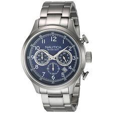 Nautica Para hombres Reloj A19630G: Analógico de Cuarzo Esfera Azul Acero Plateado RRP £ 260