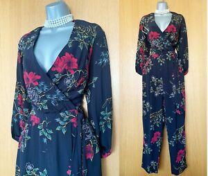 Karen Millen UK 12 Black Floral Print Long Sleeves Wrap Jumpsuit Cocktail Party
