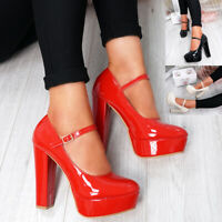 WOMENS LADIES HIGH BLOCK HEEL PLATFORM PUMPS BUCKLE STRAP CHUNKY PARTY SHOES