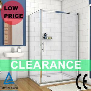 Sliding Shower Door Enclosure 5mmTempered Glass Bathroom Cubicle Side Panel Tray