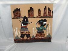 Art Sand Painting Walking Thunder Navajo Boy & Girl Tradion Beauty Woman Signed
