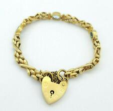 Ladies Bracelet 9ct(375,9K) Yellow Gold Gate Link Topaz Bracelet With Heart Lock