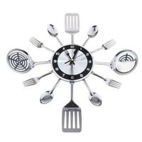 Creative Home Cutlery Kitchen Spoon & Fork Decorative Wall Clock, Sliver