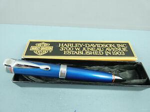 "c1990 Vintage Harley Davidson Ballpoint Pen,Metallic Blue, CT, Box ""RARE""  MINT"