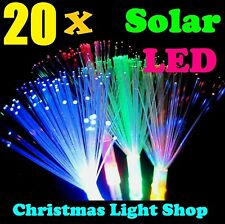 20 Solar MULTICOLOUR LED Fibre Optic Sprays Christmas Outdoor Path Party Lights