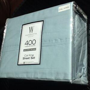 SKY BLUE ❄️ 4pc Wamsutta 400 TC 100% Cotton Sateen CALIFORNIA CAL KING Sheet Set