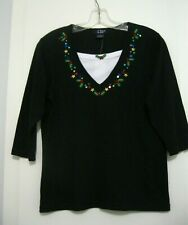 CB CASUAL Petite Christmas Holiday Embellished Knit Top PS NWT