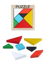 Wooden Tangram Brain Teaser Puzzle Educational Developmental Kids Toy 8 Pcs