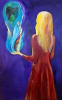 """perfect 24x36 oil painting handpainted on canvas """"beautiful girl """"@N7468"""