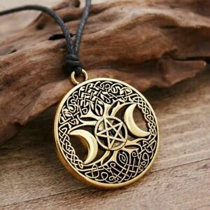 Wiccan Tree of Life Triple Moon Gold Pendant Necklace Pentagram Pagan Viking