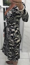 SABA Wrap Dress Black /Cream Flower Pattern Cotton Stretch Sz 10 Office Work