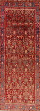 Antique One-of-a-Kind Bidjar Vegetable Dye Hand-Knotted 6x13 Wool Red Runner Rug