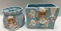 2 Vtg Geo Zoltan Lefton Baby Bear Blue Ceramic Planter 1984 Japan Bundle of Joy