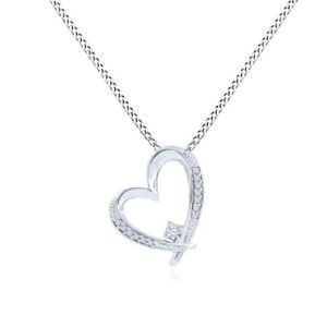 1/10 Ct Natural Diamond Sterling Silver Heart Shaped Pendant Valentine Gifts
