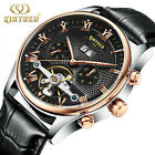 Men's Skeleton Tourbillon Sport Watch Leather Automatic Mechanical Wrist Watches