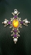 Nakai Sterling silver Amethyst Amber and MOP Cross never worn vintage