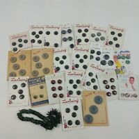 Button Lot Vintage Gray & Green Round Plastic Lansing True Craft Mixed Lot