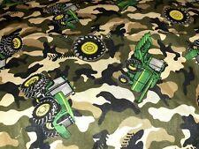 John Deere Tractor On Camo Fabric Scrap Quilt Sew Craft