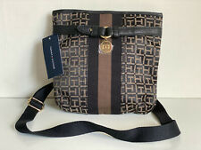 NEW! TOMMY HILFIGER BLACK BROWN NORTH SOUTH CROSSBODY SLING BAG PURSE $69 SALE
