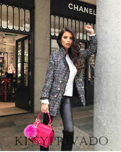 ZARA Grey Mix Long Boucle Tweed Jacket Blazer Pearl Buttons Raw Edge L BNWT