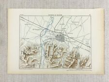 1881 Antique Military Map of Bologna Italy Emilia Romagna City Defense Fortress