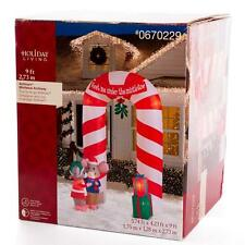 9'   Mistletoe Mice Candy Cane Archway Lighted Christmas Airblown Inflatable