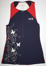 Tyr Women's Xs Blue Red White Zip Singlet Tank Competitor Butterfly Usa Made New
