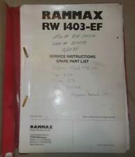 Rammax Rw 1403 Ef Trench Roller Parts Manual Book Catalog
