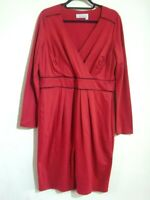 PEPPERBERRY SIZE 16 R-SC RED LONG SLEEVE STRETCH KNEE LENGTH DRESS SUPER CURVY
