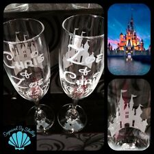 Handmade Personalised DISNEY CASTLE Wedding Valentines Champagne Flutes Gift
