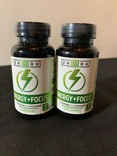 2 Zhou Energy + Focus (Caffeine + L-Theanine) 120 Veg Caps Brain Fog Memory