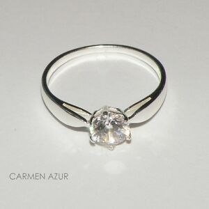 Solitaire Ring 925 Sterling Silver C/Z Engagement Size L,N,P,P1/2,Q,S + Gift Bag