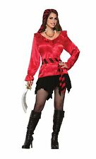 PIRATE LADY RED BLOUSE FANCY DRESS PARTY SATIN LOOK WOMAN'S FRILLY