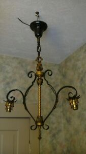 VintageOrnate Metal Scroll FLOWER/LEAF 2 light chandelier HANGING Pendant Light