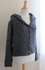 OSKA -Sz 1 Charcoal Woven Wool Oversized Lagenlook Funky Hooded Jacket