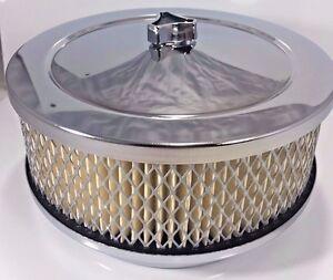 "Chrome 6-3/8"" Air Cleaner Assembly for 4 Barrel Carburetor W/ Filter S1106"