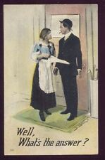 1917 WELL WHATS THE ANSWER? Romantic Couple Postcard