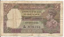 INDIA, 5 RUPEES, KGVI, 1937