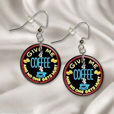 "GIVE ME COFFEE  1"" Button Dangle Earrings  FREE PIN  USA Seller"