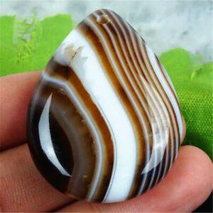 D4153 40x30x8mm Coffee/white Stripes Agate Teardrop Pendant Bead