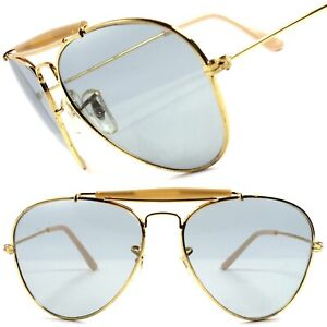 Gold Light Tint Lenses Classic Vintage Retro 80s Fashion Mens Womens Sunglasses