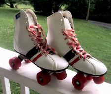 70's VINTAGE ROLLER DERBY White, Red & Blue  4-Wheel Quad Roller Skates SIZE 7