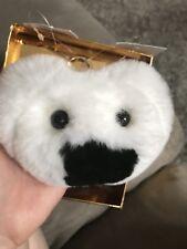 Michael Kors Optic White Teddy Bear Pom Pom Rabbit Fur Key Chain