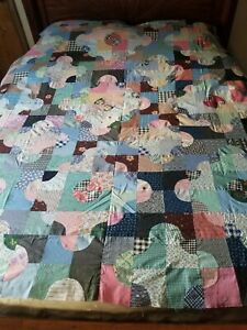 "Vintage 30s 40s 50s Cotton Unfinished Quilt Top ~ 74"" X 78"""