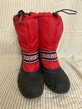 Sorel Youth Snow Boots Size 6 Red Blue Rubber Sole
