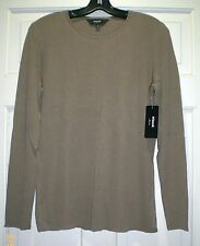 NWT MISOOK COLLECTION L TOBACCO JEWEL NECK L/S RIBBED T-SHIRT TOP LARGE 12-14