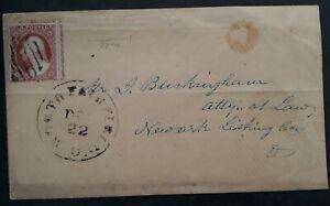 "c.1883 United States 2c red brown Washington stamp "" 6"" Philadelphia numeral cds"
